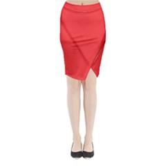 Neon Color   Brilliant Red Midi Wrap Pencil Skirt