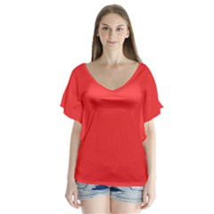 Neon Color   Brilliant Red Flutter Sleeve Top