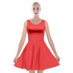 Neon Color   Brilliant Red Velvet Skater Dress