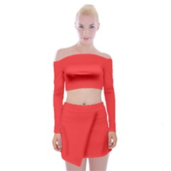 Neon Color   Brilliant Red Off Shoulder Top With Skirt Set