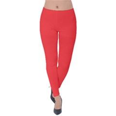 Neon Color   Brilliant Red Velvet Leggings