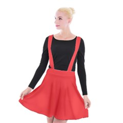 Neon Color   Brilliant Red Suspender Skater Skirt