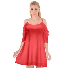 Neon Color   Brilliant Red Cutout Spaghetti Strap Chiffon Dress