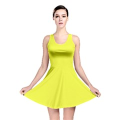 Neon Color - Brilliant Yellow Reversible Skater Dress