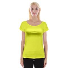 Neon Color - Brilliant Yellow Women s Cap Sleeve Top