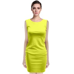Neon Color   Brilliant Yellow Classic Sleeveless Midi Dress