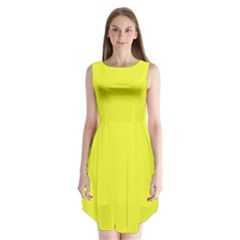 Neon Color   Brilliant Yellow Sleeveless Chiffon Dress