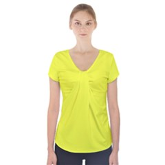 Neon Color   Brilliant Yellow Short Sleeve Front Detail Top