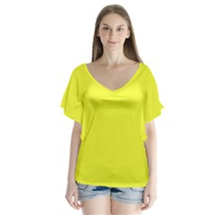 Neon Color   Brilliant Yellow Flutter Sleeve Top