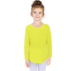 Neon Color   Brilliant Yellow Kids  Long Sleeve Tee