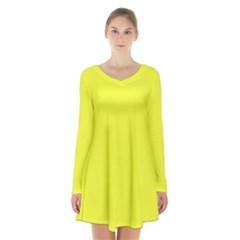 Neon Color   Brilliant Yellow Long Sleeve Velvet V Neck Dress