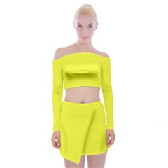 Neon Color   Brilliant Yellow Off Shoulder Top With Skirt Set