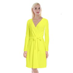 Neon Color   Brilliant Yellow Long Sleeve Velvet Front Wrap Dress