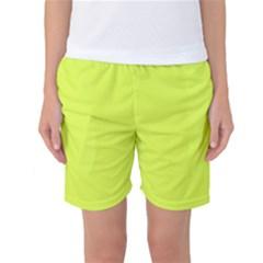 Neon Color - Light Brilliant Apple Green Women s Basketball Shorts