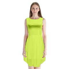 Neon Color   Light Brilliant Apple Green Sleeveless Chiffon Dress