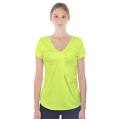 Neon Color   Light Brilliant Apple Green Short Sleeve Front Detail Top
