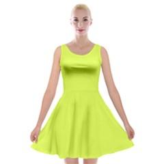 Neon Color   Light Brilliant Apple Green Velvet Skater Dress