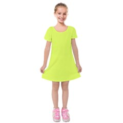 Neon Color   Light Brilliant Apple Green Kids  Short Sleeve Velvet Dress