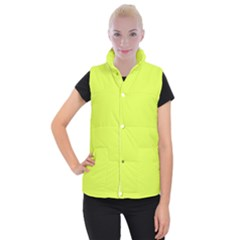 Neon Color   Light Brilliant Apple Green Women s Button Up Puffer Vest