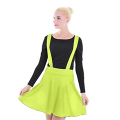 Neon Color   Light Brilliant Apple Green Suspender Skater Skirt