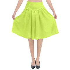Neon Color   Light Brilliant Apple Green Flared Midi Skirt