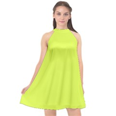 Neon Color   Light Brilliant Apple Green Halter Neckline Chiffon Dress