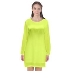 Neon Color   Light Brilliant Apple Green Long Sleeve Chiffon Shift Dress