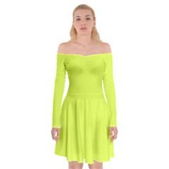 Neon Color   Light Brilliant Apple Green Off Shoulder Skater Dress