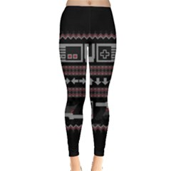 Old School Ugly Holiday Christmas Black Background Leggings