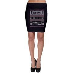 Old School Ugly Holiday Christmas Black Background Bodycon Skirt