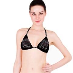 Old School Ugly Holiday Christmas Black Background Bikini Top