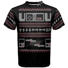 Old School Ugly Holiday Christmas Black Background Men s Cotton Tee