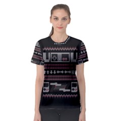 Old School Ugly Holiday Christmas Black Background Women s Sport Mesh Tee