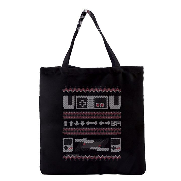 Old School Ugly Holiday Christmas Black Background Grocery Tote Bag