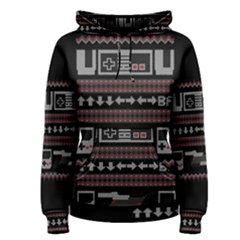 Old School Ugly Holiday Christmas Black Background Women s Pullover Hoodie