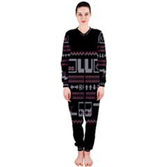 Old School Ugly Holiday Christmas Black Background OnePiece Jumpsuit (Ladies)