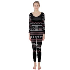 Old School Ugly Holiday Christmas Black Background Long Sleeve Catsuit