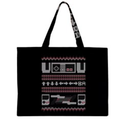 Old School Ugly Holiday Christmas Black Background Large Tote Bag