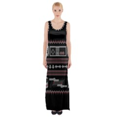 Old School Ugly Holiday Christmas Black Background Maxi Thigh Split Dress