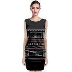 Old School Ugly Holiday Christmas Black Background Classic Sleeveless Midi Dress