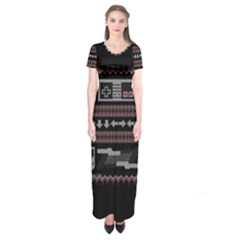 Old School Ugly Holiday Christmas Black Background Short Sleeve Maxi Dress