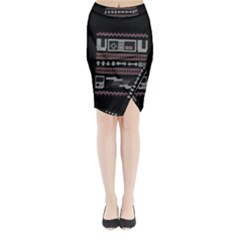 Old School Ugly Holiday Christmas Black Background Midi Wrap Pencil Skirt