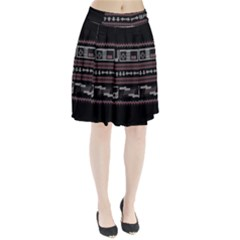 Old School Ugly Holiday Christmas Black Background Pleated Skirt