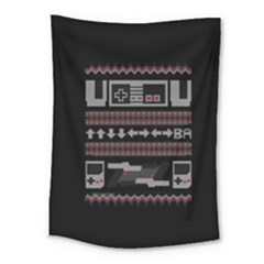 Old School Ugly Holiday Christmas Black Background Medium Tapestry