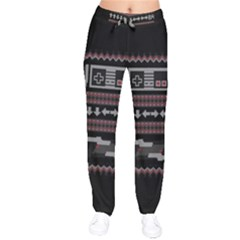 Old School Ugly Holiday Christmas Black Background Drawstring Pants