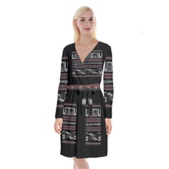 Old School Ugly Holiday Christmas Black Background Long Sleeve Velvet Front Wrap Dress