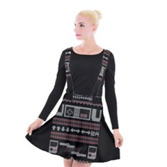 Old School Ugly Holiday Christmas Black Background Suspender Skater Skirt