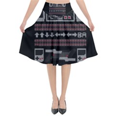 Old School Ugly Holiday Christmas Black Background Flared Midi Skirt