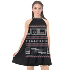 Old School Ugly Holiday Christmas Black Background Halter Neckline Chiffon Dress