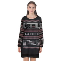 Old School Ugly Holiday Christmas Black Background Long Sleeve Chiffon Shift Dress